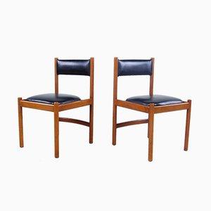 Italienische moderne Esszimmerstühle aus Leder & Holz von ISA, 1960er, 2er Set