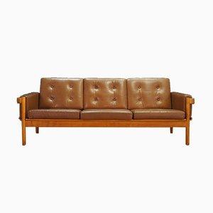 Dänisches Sofa aus Leder & Eiche von HW Klein für NA Jørgensens Møbelfabrik, 1970er