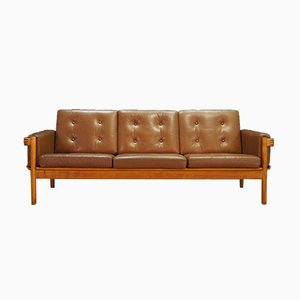 Danish Leather and Oak Sofa by H. W. Klein for NA Jørgensens Møbelfabrik, 1970s