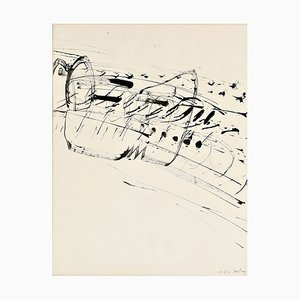 Ink Drawing on Paper by K.R.H. Sonderborg, 1960s