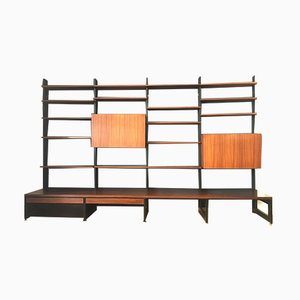 Rosewood and Ash Wall Shelf by Dieter Wäckerlin for Idealheim, 1960s