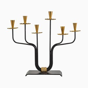 Scandinavian Modern Brass and Metal Candleholder by Hugo França, 1950s