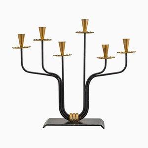Scandinavian Modern Brass and Metal Candleholder by Hugo França, 1950s