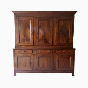 Antique 19th-Century French Empire Walnut 6-Door Showcase Cabinet