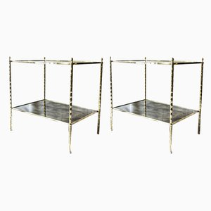 French Brass 2-Tier Glass Top Side Tables from Maison Baguès, 1960s, Set of 2