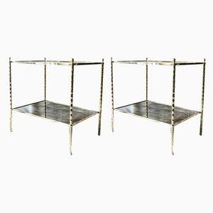 Tables d'Appoint à 2 Niveaux en Laiton de Maison Baguès, France, 1960s, Set de 2