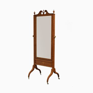 Antique Edwardian Inlaid Cheval Mirror