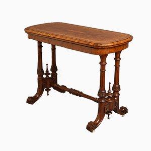 Antiker viktorianischer Kartentisch aus Nussholz