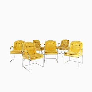 Chaises de Salle à Manger en Aluminium et Velours par Milo Baughman, 1970s, Set de 6