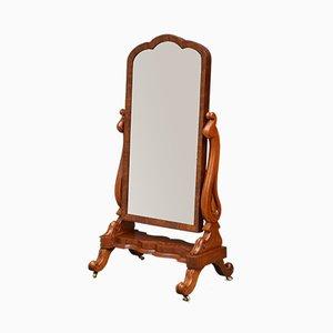 Antiker viktorianischer Cheval Spiegel mit Mahagonirahmen