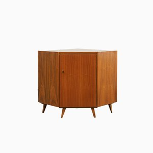 Mid-Century Veneer and Walnut Corner Cupboard, 1950s