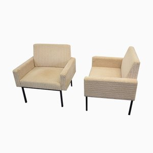 German Wool and Tubular Steel Lounge Chairs from Thonet, 1960s, Set of 2