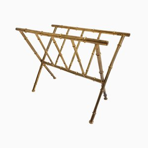 French Brass Bamboo Magazine Rack from Maison Baguès, 1960s