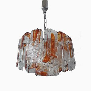 Italian Chrome & Hand-Blown Glass Chandelier, 1970s