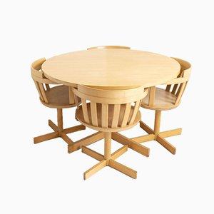 Table de Salle à Manger en Hêtre et Chaises Pivotantes de Edsby Verken, 1960s