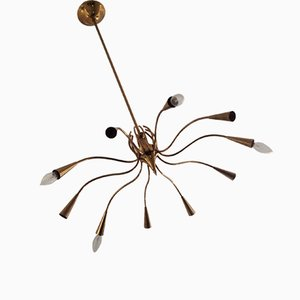Italian Modern Brass Chandelier by Oscar Torlasco, 1960s