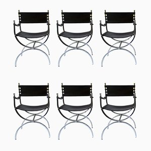 French Chrome Plated Curule Armchairs from Maison Jansen, 1970s, Set of 6