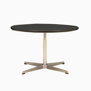 Round Danish Aluminum and Chrome Plating Dining Table by Arne Jacobsen for Fritz Hansen, 1970s