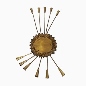 Mid-Century French Brass Sun Sconce, 1950s