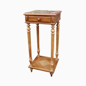 Table de Chevet Antique en Marbre et Noyer, France, 19ème Siècle