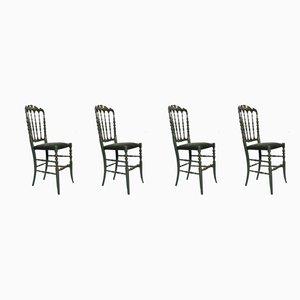 Handbemalte Italienische Mid-Century Chiavari Lackierte Buchenholz Esszimmerstühle, 1950er, 4er Set