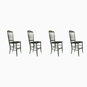 Mid-Century Italian Hand-Painted Painted Beech Chiavari Dining Chairs, 1950s, Set of 4