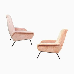 Italian Modern Pink Fabric and Iron Armchairs, 1950s, Set of 2