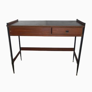 Mid-Century Italian Iron and Mahogany Desk, 1950s