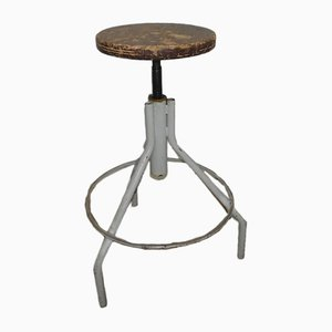 Vintage Italian Iron and Compressed Wood Stool, 1970s