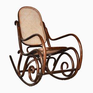 Mid-Century Italian Beech & Vienna Straw Rocking Chair, 1940s