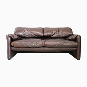 Mid-Century Italian Leather Maralunga Sofa by Vico Magistretti for Cassina, 1970s