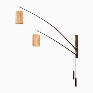Deutsche Wandlampe aus Teak & Bast von Rupprecht Skrip für Skrip Leuchten, 1950er