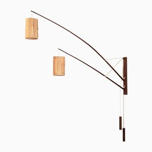 German Teak & Raffia Wall Lamp by Rupprecht Skrip for Skrip Leuchten, 1950s