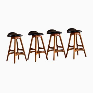 Danish Rosewood and Teak Model OD-61 Stools by Eric Buch for Oddense Møbelfabrik, 1960s, Set of 4
