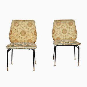 Italian Iron & Silk Side Chairs, 1950s, Set of 2