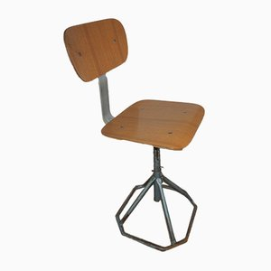 Vintage Italian Iron and Formica Adjustable Stool, 1970s