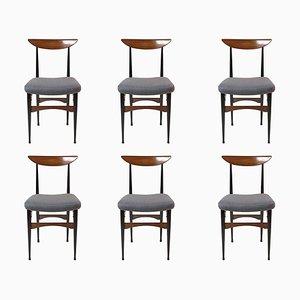 Moderne italienische Esszimmerstühle aus Teak & Holz, 1950er, 6er Set