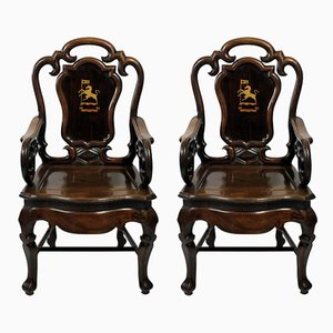 19th-Century Anglo-Chinese Armchairs, 1830s, Set of 2