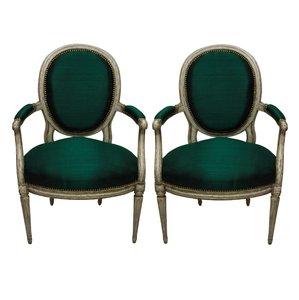 Antike französische Armlehnstühle, 1980er, 2er Set