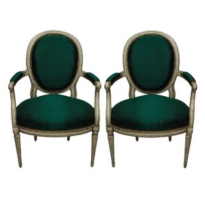 Antique French Armchairs, 1980s, Set of 2