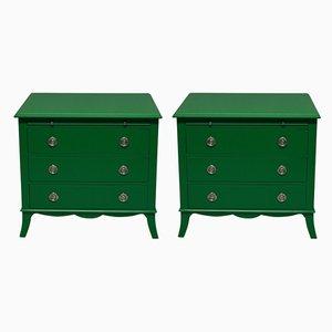 Grün lackierte Vintage Kommoden, 1970er, 2er Set