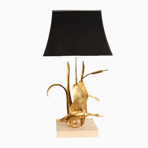 French Brass and Travertine Goose Table Lamp from Maison Jansen, 1970s