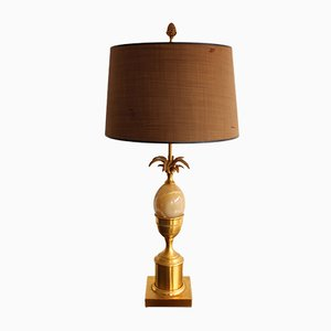 French Brass and Marble Table Lamp from Maison Charles, 1960s