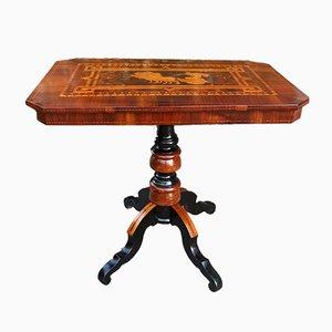 Table Basse Antique en Noyer Marqueté, Italie, 19ème Siècle