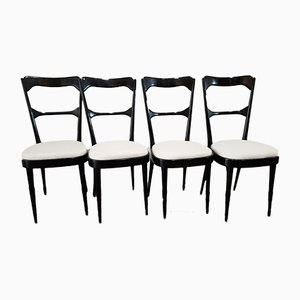 Italian Ebonized Dining Chairs, 1950s, Set of 4