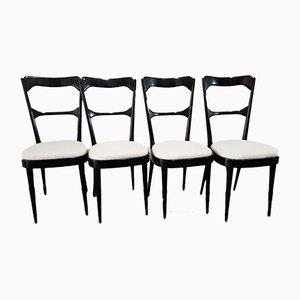 Italienische ebonisierte Esszimmerstühle, 1950er, 4er Set