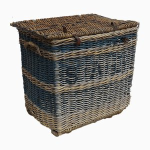 Vintage English Industrial Wicker Laundry Basket, 1930s