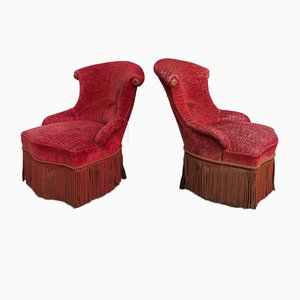 Antique French Beech and Fabric Napoleon III Tub Chairs, Set of 2