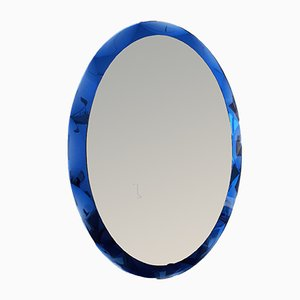 Oval Italian Mirror from Cristal Art, 1960s