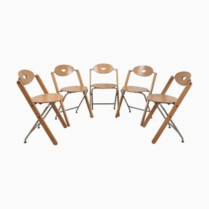 Metal and Wood Folding Chairs by Ruud Jan Kokke for Kembo, 1980s, Set of 5
